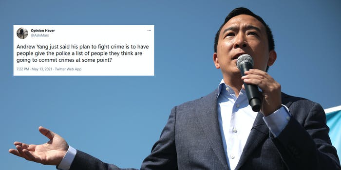 New York City Mayor Candidate Andrew Yang next to a tweet criticizing his police plan from Thursday's debate.