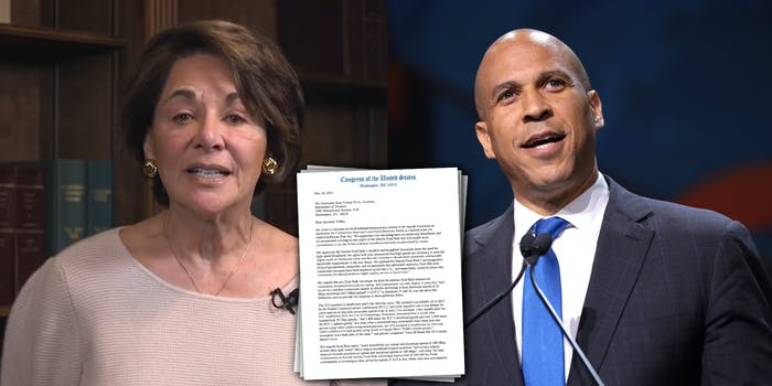 A side by side of Rep. Anna Eshoo and Sen. Cory Booker. Between them is a letter they signed with other lawmakers urging the Treasury to update the criteria to be eligible for broadband funding.