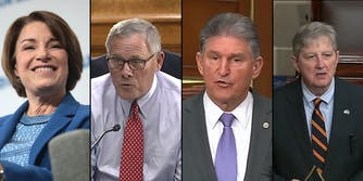 A side by side of Sen. Amy Klobuchar, Sen. Richard Burr, Sen. Joe Manchin, and Sen. John Kennedy, who all introduced a data privacy bill.