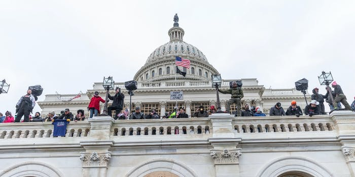 A group of people at the Capitol riot in January.