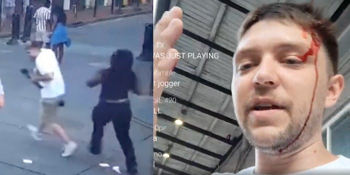 (L-R): Video shows Black security guard about to strike white streamer after he called her the N-word; the streamer complains about being assaulted