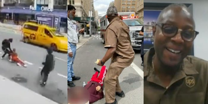 (L-R): Attack on a teen in Manhattan; Christopher McCall intervenes to help the victim; Christopher McCall