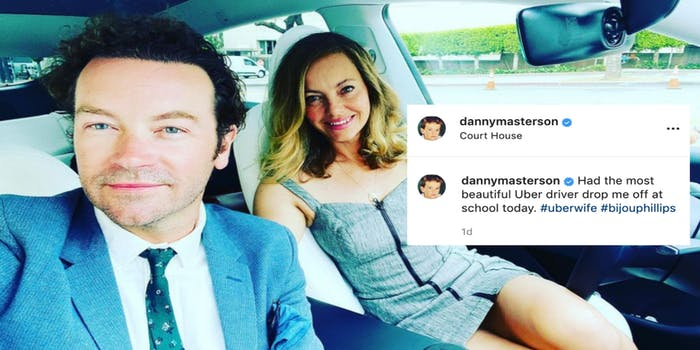 """Danny Masterson Instagram selfie with his wife Bijou Phillips captioned """"Had the most beautiful Uber driver drop me off at school today."""""""