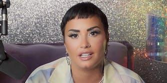 Demi Lovato in glittery room
