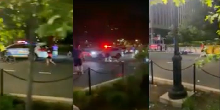 Three panel screenshot of a NYPD vehicle chasing after a car that injured two protesters during a George Floyd Rally in New York City