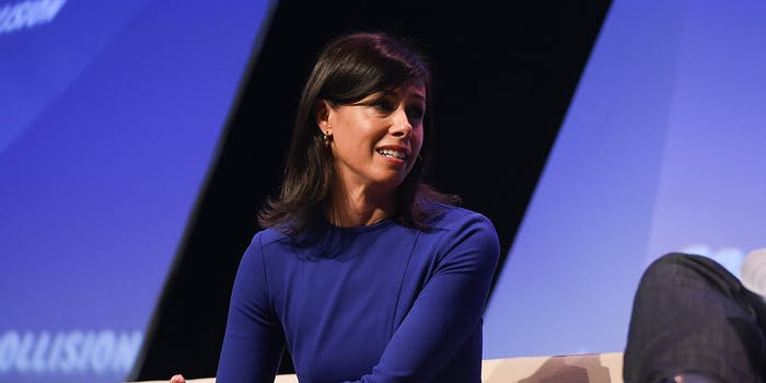 Acting FCC Chairwoman Jessica Rosenworcel speaking at a conference in 2018.