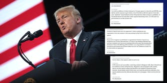 Former President Donald Trump speaking at a podium. Next to him are comments left for the Facebook Oversight Board criticizing Section 230.