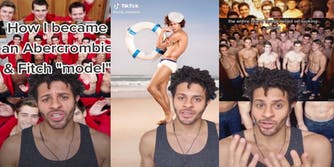 Screenshots from a TikTok of a former Abercrombie & Fitch model exposing the secrets and labor practices of the company