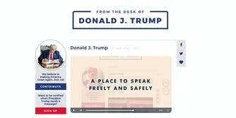 A screenshot of the 'From the Desk of Donald J. Trump' website.