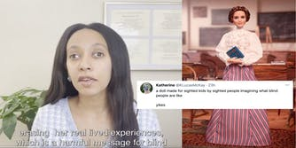 Helen Keller Barbie doll on the right side of the photo. A screenshot from Haben Girma's Twitter video talking about the doll's misrepresentation of Helen Keller's asymmetrical eyes. A screenshot from someone's tweet in response saying it is a doll for sighted people made by sighted people.