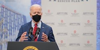 President Joe Biden speaking at a podium in March 2021.