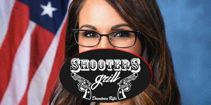 Lauren Boebert and the Shooters Grill logo.