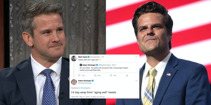 A side by side of Rep. Adam Kinzinger and Rep. Matt Gaetz. In between them is a tweet from Kinzinger telling Gatez to 'stay away from 'aging well' tweets.'