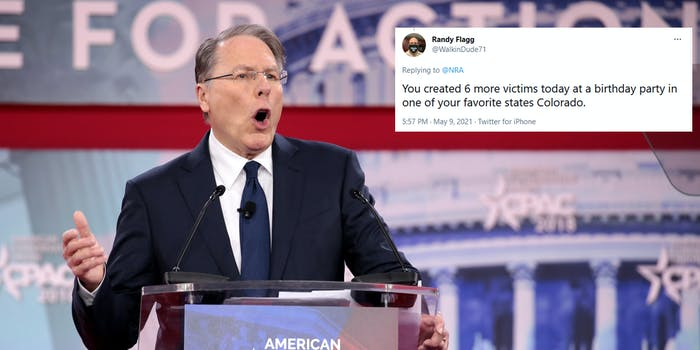 NRA CEO Wayne LaPierre next to a tweet of someone criticizing their Mother's Day tweet.