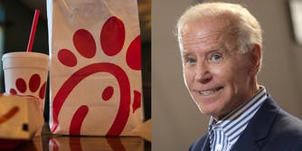 A meal from Chick-fil-A side by side with a picture of Joe Biden smiling.