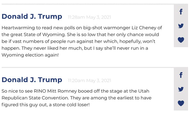 trump posts on his website calling out mitt romney
