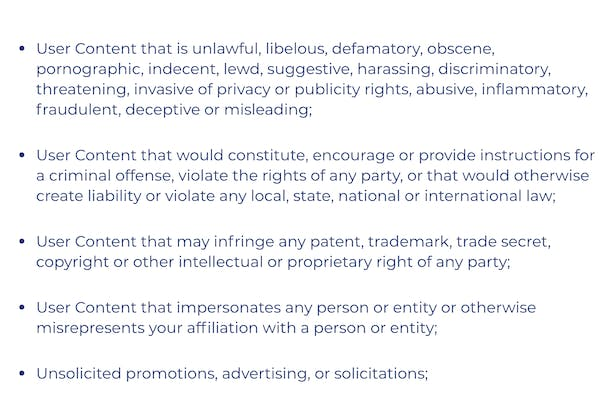 terms of service on trumps website