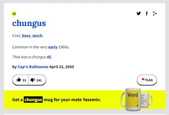 """2005 urban dictionary entry for """"chungus"""""""