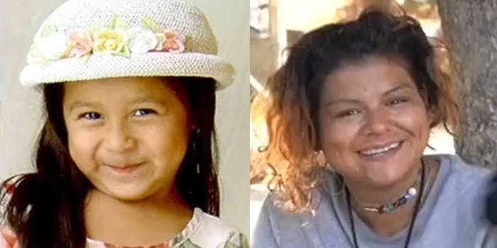 little missing girl (l) and grown woman (r)