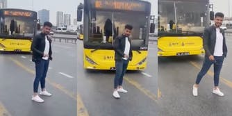 Deathwish - TikTok - man standing in front of moving bus