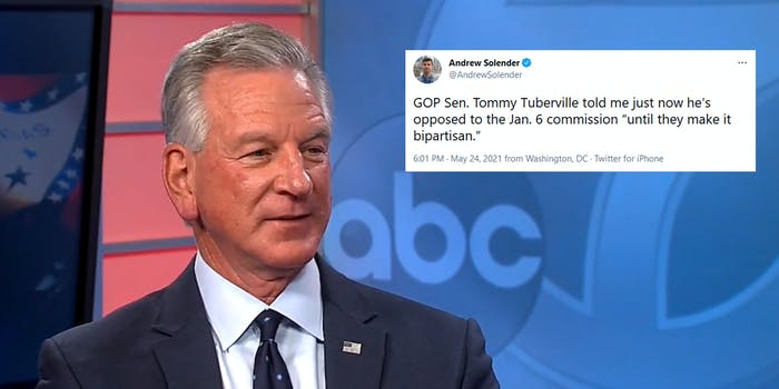 Sen. Tommy Tuberville doing a TV interview. Next to him is a tweet from a reporter quoting him as saying that he won't vote for a Capitol riot commission unless it is bipartisan, which it is.