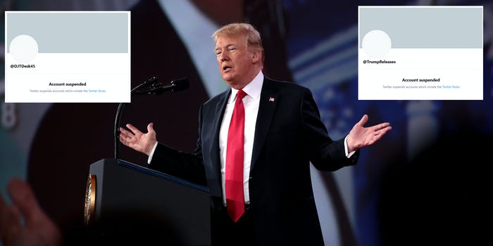 Former President Donald Trump shrugging his arms at a podium next two two suspended Twitter profiles that posted content from his new 'From the Desk of Donald Trump' website.