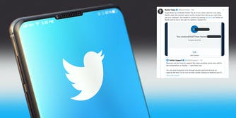 The Twitter logo on the screen of a smartphone. Next to it is a tweet from Rachel Tobac showing a privacy issue when using PayPal for Twitter's new Tip Jar function.