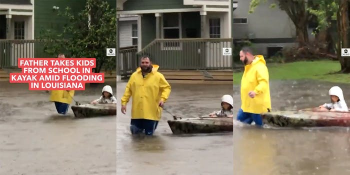 Screenshots taken from a video of a dad pulling his two kids home from school in a kayak during a flash flood in Louisiana.