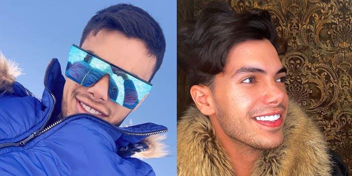man in winter coat and sunglasses (l) same man inside wearing a fur coat