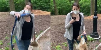 woman dragging dog by collar, using phone