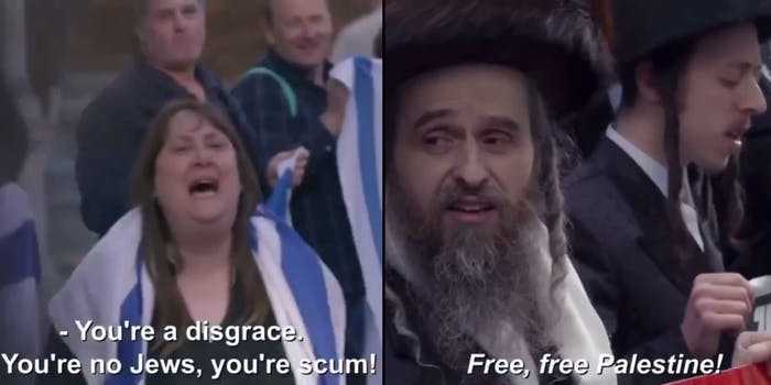 """Woman in Israeli flag screams """"You're a disgrace. You're no Jews, you're scum!"""" (l) Orthodox Jews chanting """"Free, free Palestine!"""" (r)"""