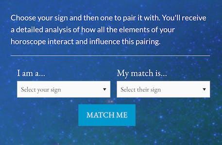 Screenshot of AstrologyZone's aries love match calculator