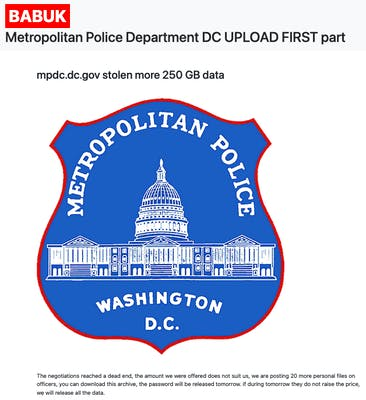 Ransomware Gang Says D.C. Police Won't Pay  Million Demand, Begins Leaking Files
