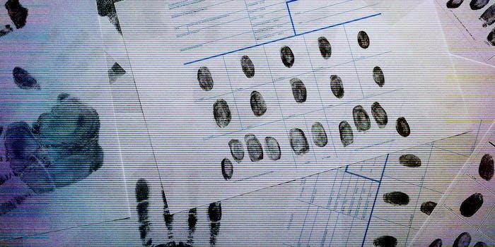 A fingerprint record sheet.