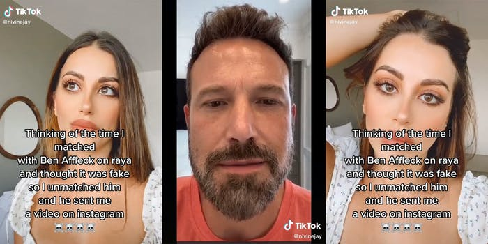 "woman with ""thinking of the time I matched with Ben Affleck on raya and thought it was fake so I unmatched him and he sent me a video on instagram"" with emoji skulls (left and right) ben affleck (center)"