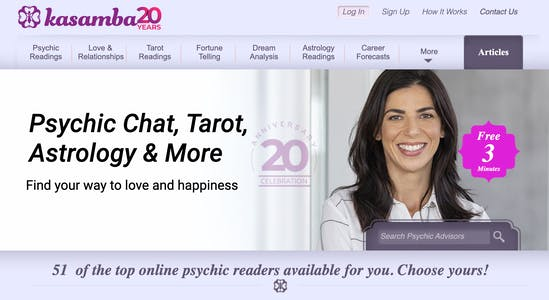 Screenshot of the Kasamba homepage displaying the services offered, like tarot, psychic reading, and compatibility charts for aries men and women.