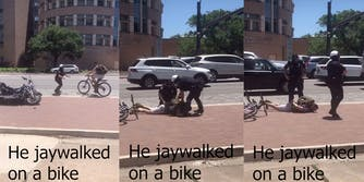 Two police officers hold a biker face down on the sidewalk while putting handcuffs on him.