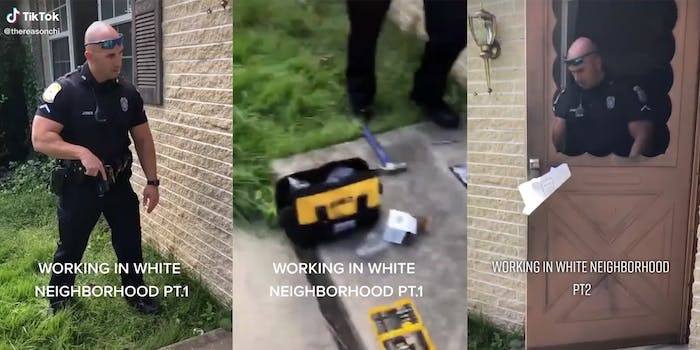 """police officer with hand on pistol (l) locksmith tools on ground (c) officer exiting through door (r) with caption """"Working in white neighborhood"""""""