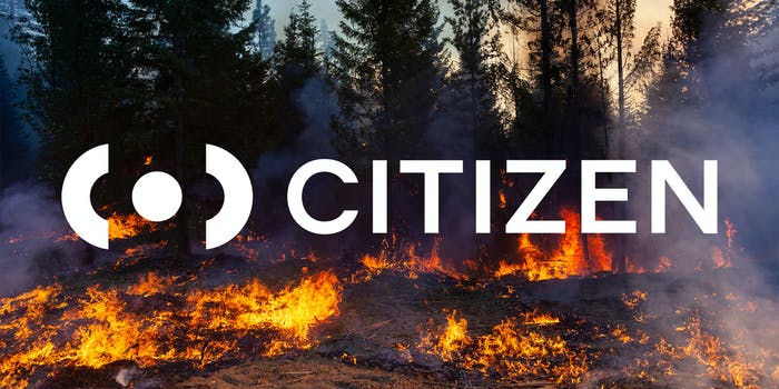 Trees on fire with Citizen app logo