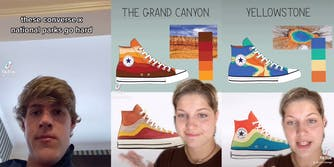 Screenshots from a TikTok showing one designers pitch to Converse and their new national parks sneaker line.