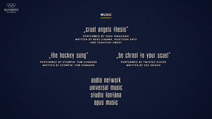 end credits for the nagano tapes including cruel angels thesis