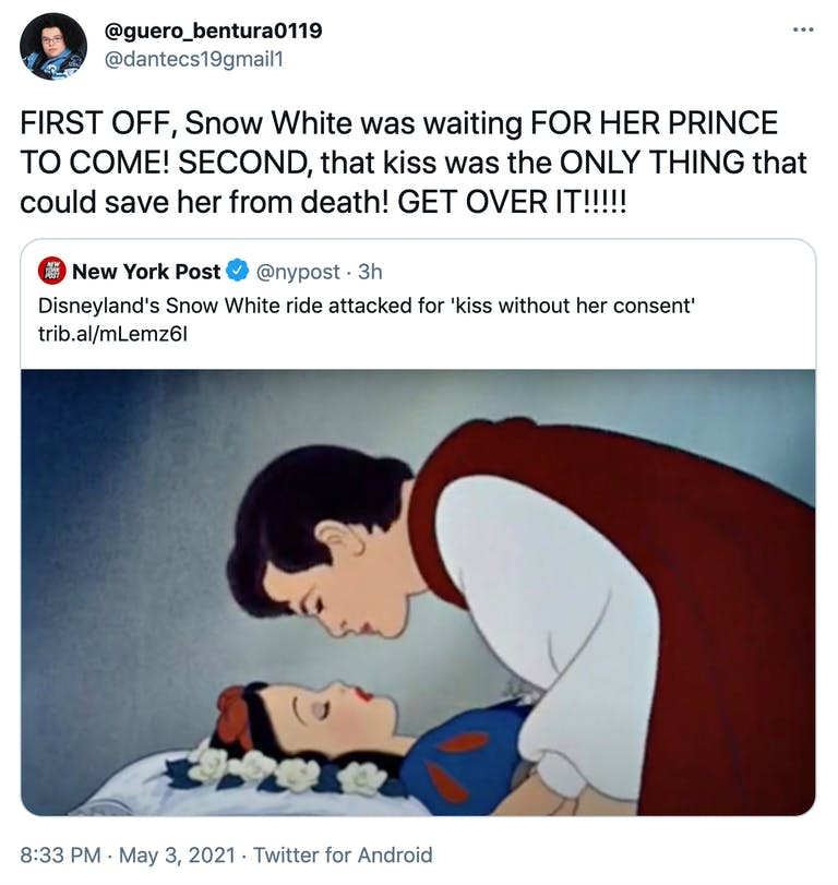 """""""FIRST OFF, Snow White was waiting FOR HER PRINCE TO COME! SECOND, that kiss was the ONLY THING that could save her from death! GET OVER IT!!!!!"""" link to New York Post article with the kiss scene from the film as the header image"""