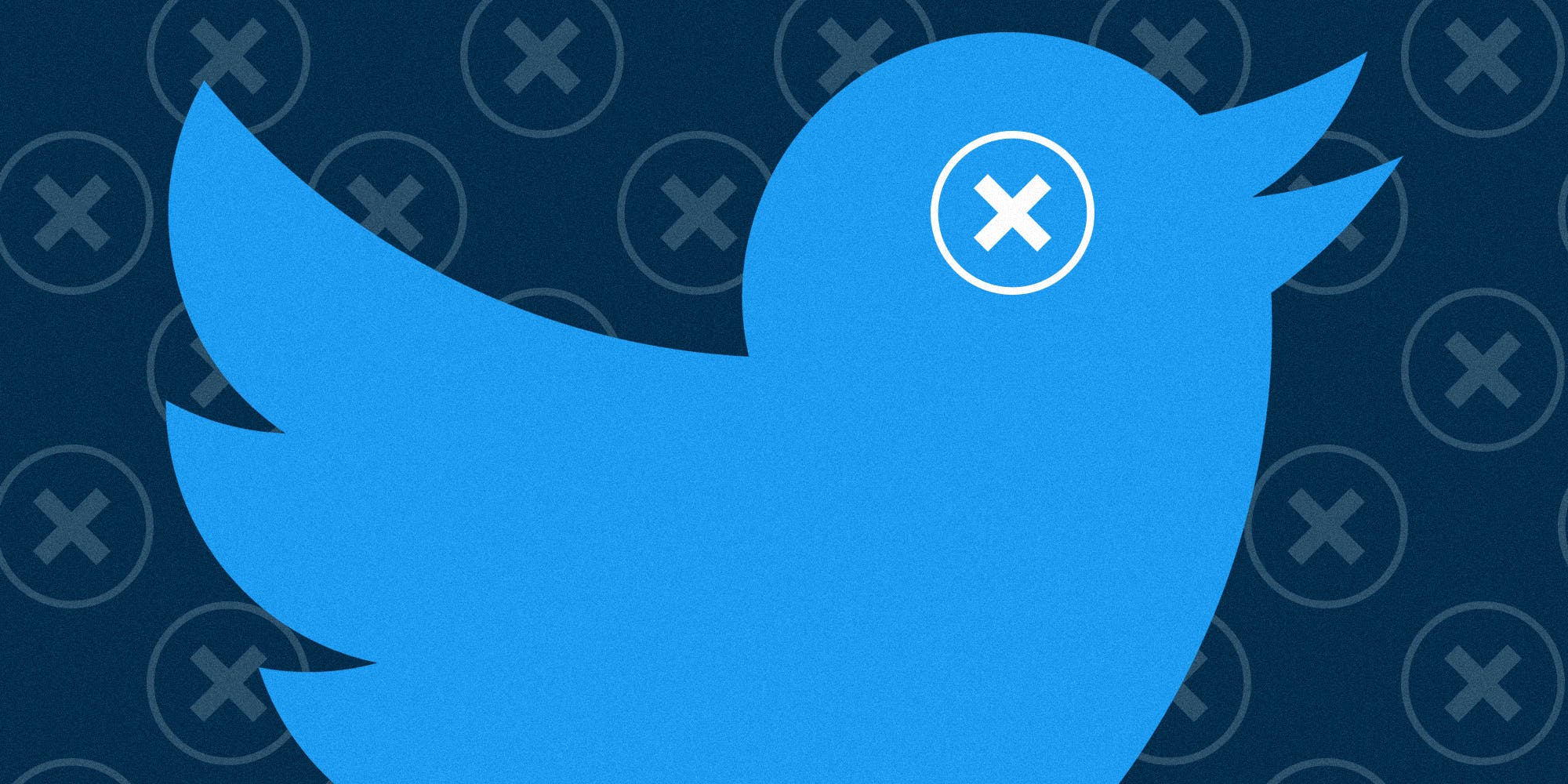 twitter bird with x in circle as eye and background