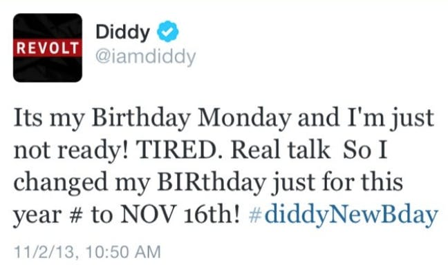 diddy's tweet about his birthday