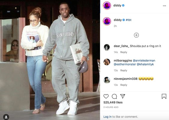 diddy and jennifer lopez throwback photo