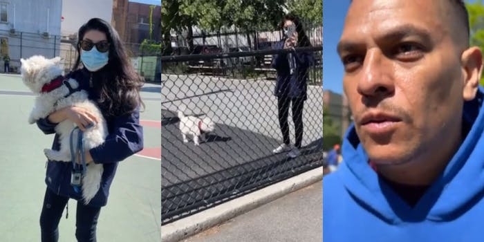 woman holding dog off leash (l) woman taking video through a fence with dog off leash (c) upset man in blue hoodie approaches (r)