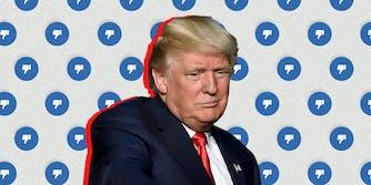 Donald Trump in front of Facebook dislike symbols.