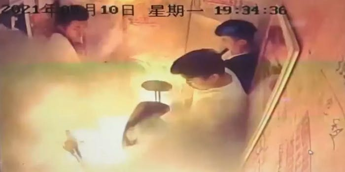 electric bike explodes in elevator with people inside