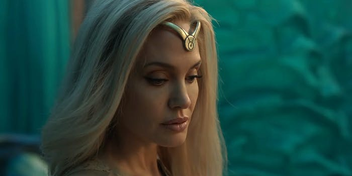 angelina jolie wearing headdress