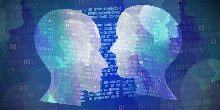 two heads face one another with binary overlay